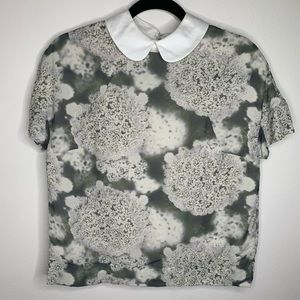 Tory Burch baby's breath print collared blouse 2